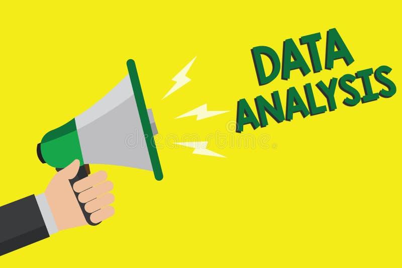 Знак текста показывая анализ данных Схематическое фото переводит номера к аналитическому человеку прогнозирования заключения держ иллюстрация штока