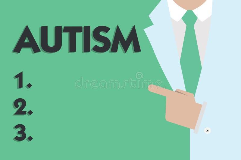 Знак текста показывая аутизм Схематическое затруднение фото во взаимодействовать и формировать дела с другим показом иллюстрация штока