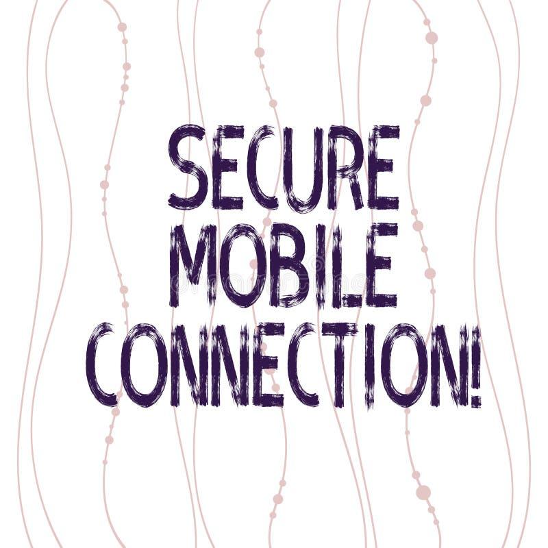 Знак текста показывая безопасное мобильное соединение Схематическое фото шифровать вертикалью одних или больше протоколов безопас бесплатная иллюстрация