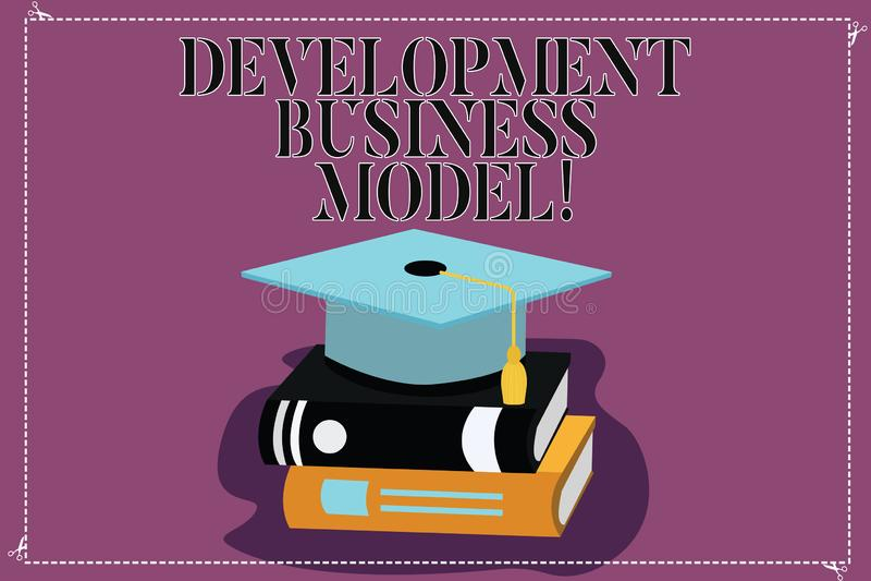 Знак текста показывая бизнес модель развития Схематическое разумное объяснение фото как организация создала градацию цвета иллюстрация вектора