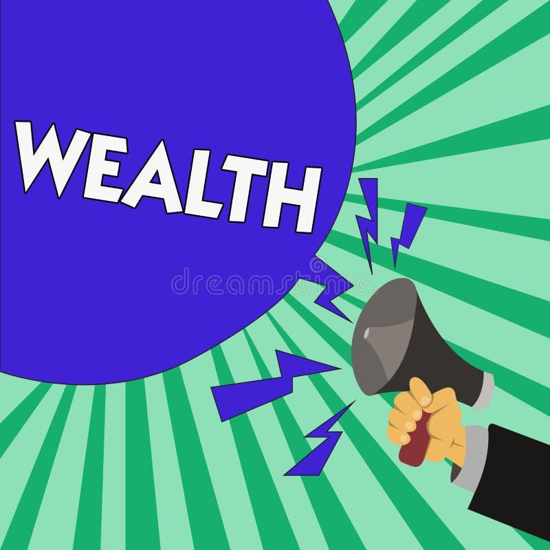Знак текста показывая богатство Схематическое обилие фото ценных владений или денег, который нужно быть очень богатой роскошью бесплатная иллюстрация