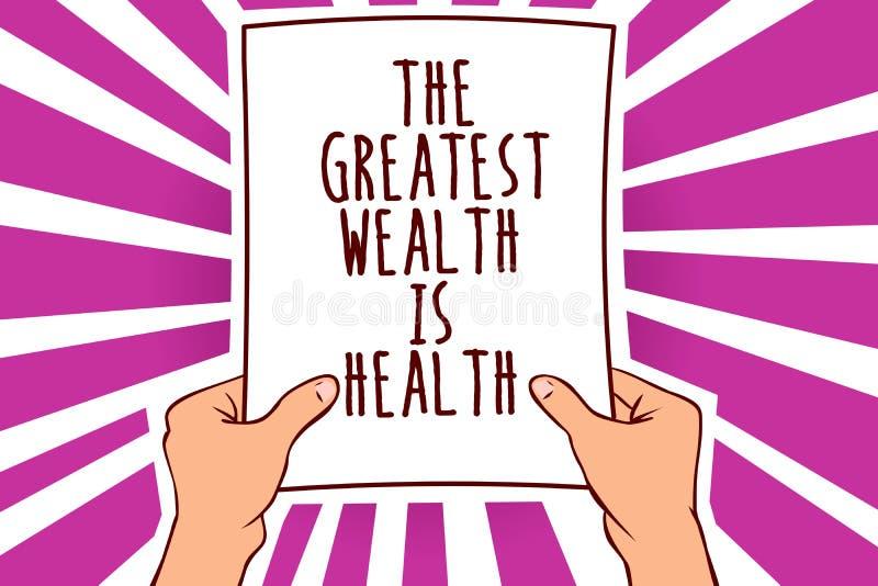Знак текста показывая большое богатство здоровье Схематическое фото находясь в хороших здоровьях призовые принимает человека забо иллюстрация штока