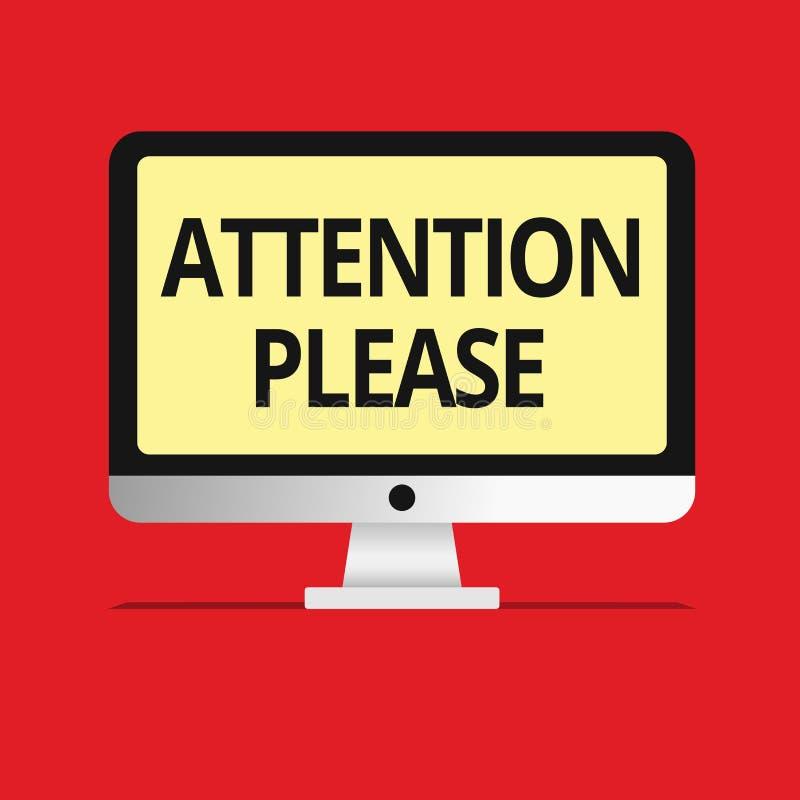 Знак текста показывая внимание пожалуйста Схематическое фото спрашивая SOP людей делая что-нибудь и концентрат с вами иллюстрация штока
