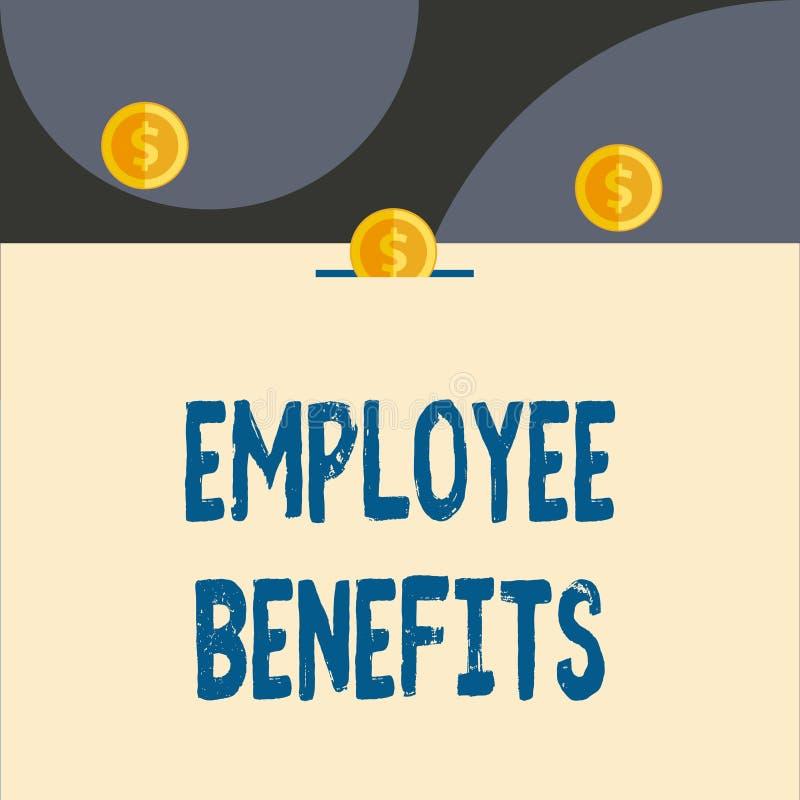 Знак текста показывая вознаграждения работникам Схематическое фото косвенное и компенсация noncash оплатили к виду спереди работн иллюстрация штока