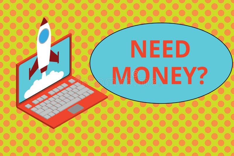 Знак текста показывая вопрос о денег потребности Схематическое фото спрашивая кто-то если ему, то наличные деньги или bouns получ иллюстрация вектора