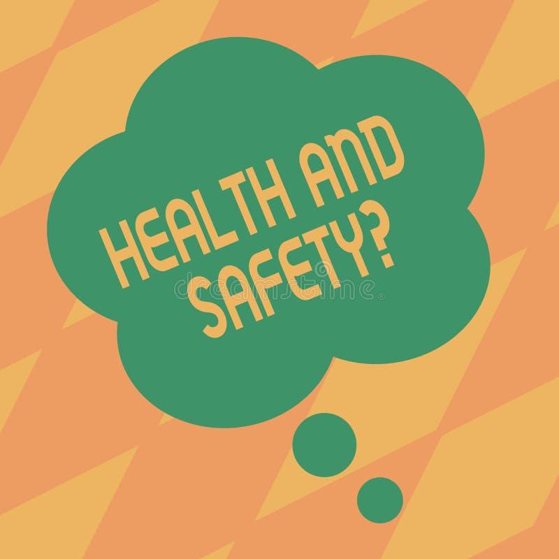 Знак текста показывая вопрос о здоровья и безопасности Схематические регулировки и процедуры по фото для предотвращения аварии ил иллюстрация штока