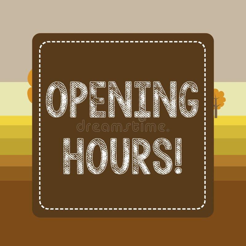 Знак текста показывая времена открытия Схематическое фото время во время которого дело открыто для брошенных клиентов пунктирует бесплатная иллюстрация
