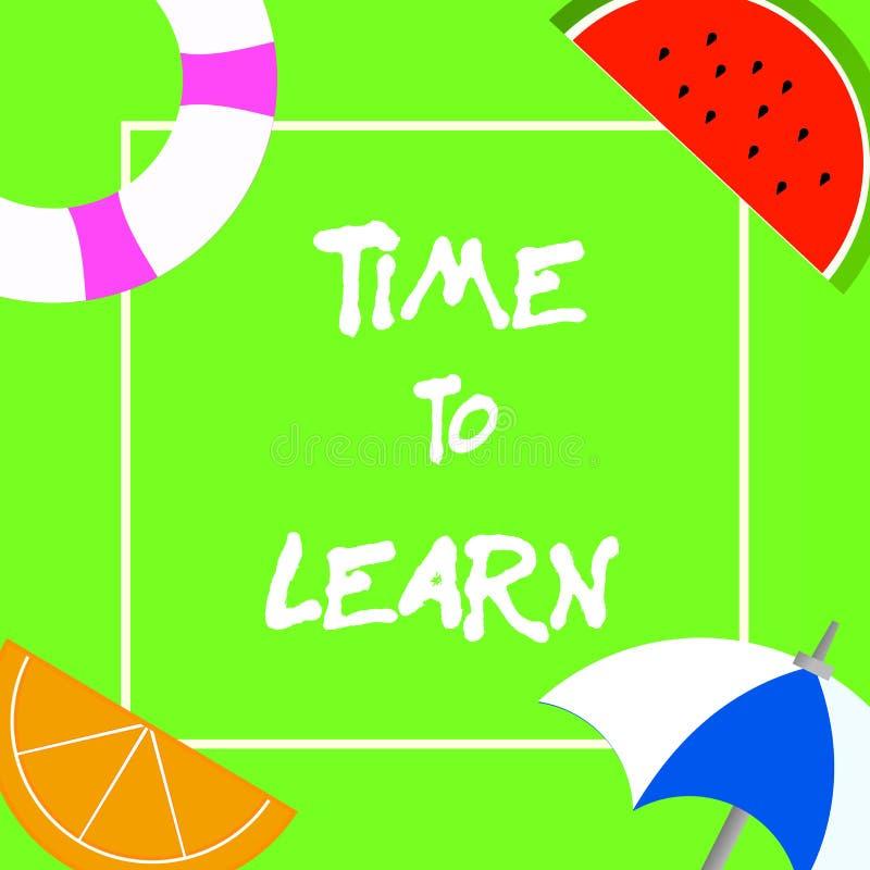 Знак текста показывая время выучить Схематическое фото получает новые знания или искусство воспитательные или рост карьеры иллюстрация штока