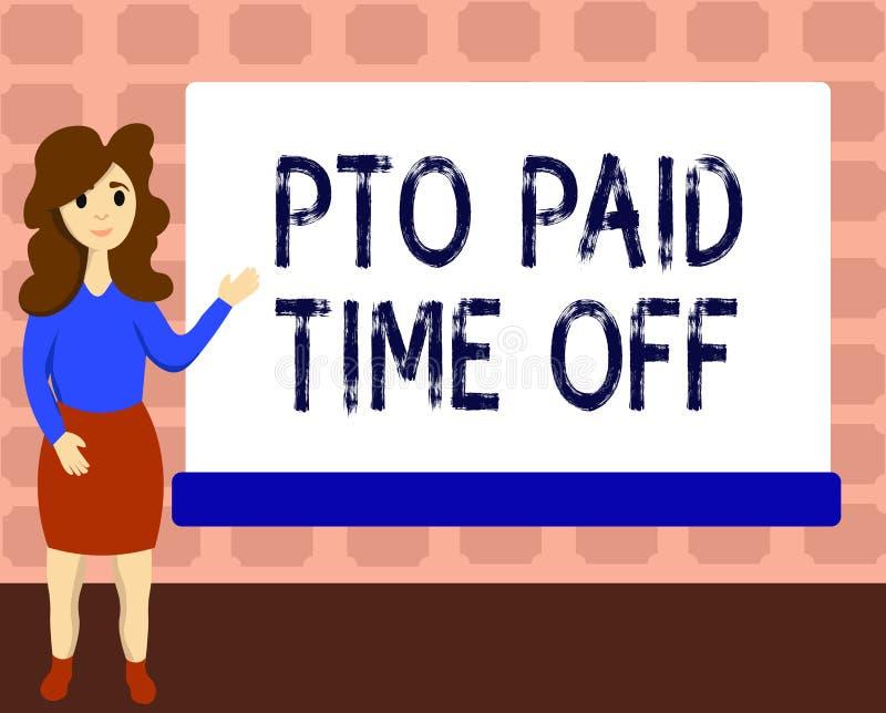 Знак текста показывая время оплаченное Pto  Схематический работодатель фото дарует компенсацию на личные праздники разрешения иллюстрация штока