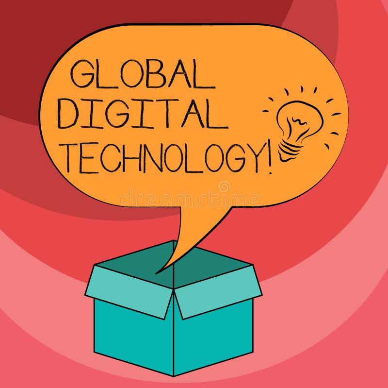 Знак текста показывая глобальную цифровую технологию Схематическим информация переведенная в цифровую форму фото в форме значка и бесплатная иллюстрация