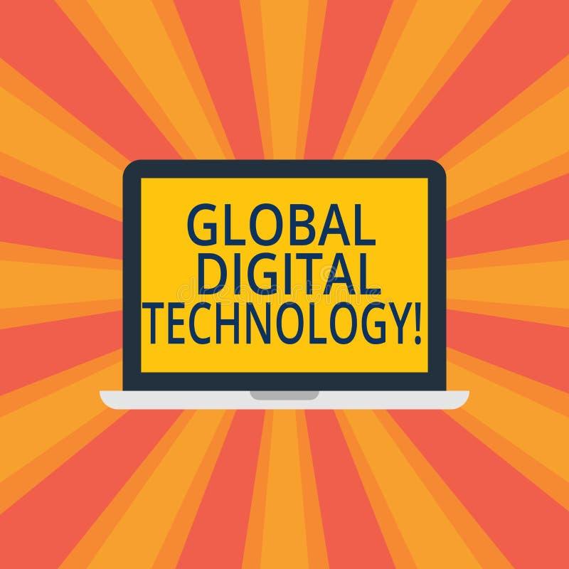 Знак текста показывая глобальную цифровую технологию Схематическим информация переведенная в цифровую форму фото в форме ноутбука бесплатная иллюстрация