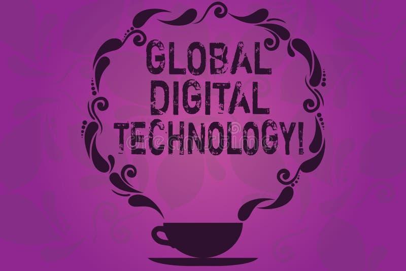Знак текста показывая глобальную цифровую технологию Схематическим информация переведенная в цифровую форму фото в форме чашки и  иллюстрация штока
