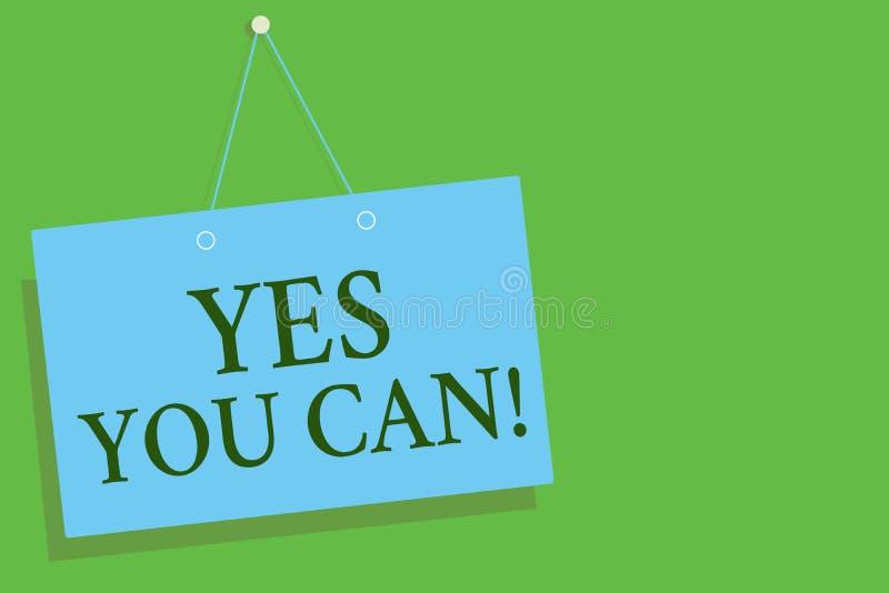 Знак текста показывая да вас может Схематическое поощрение позитивности фото уговаривает доверие вызова поддерживает голубую стен бесплатная иллюстрация