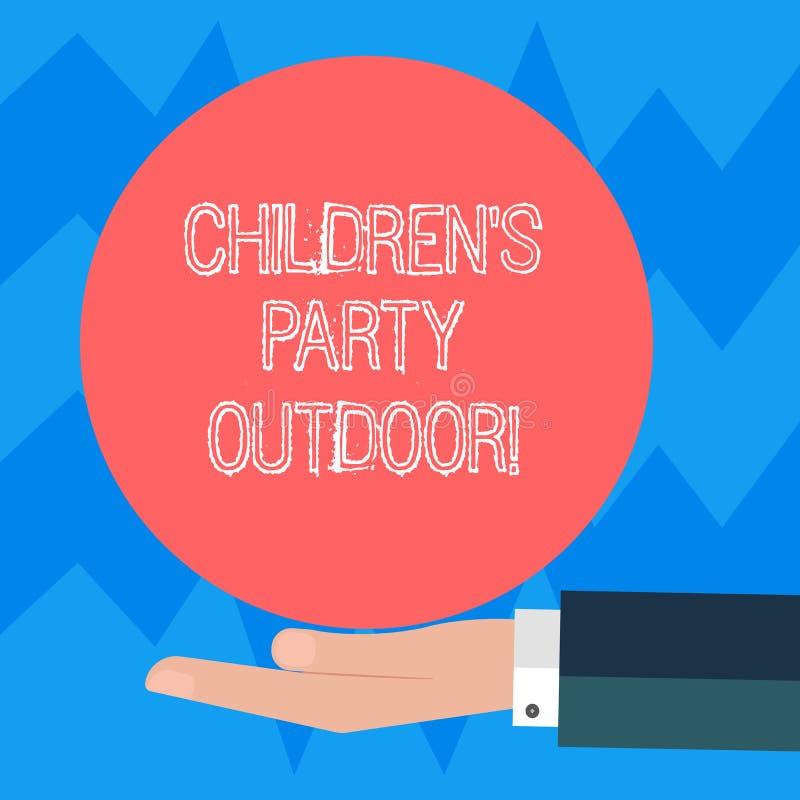 Знак текста показывая детям s партия на открытом воздухе Схематическое праздненство детей фото, который держат вне руки анализа H бесплатная иллюстрация