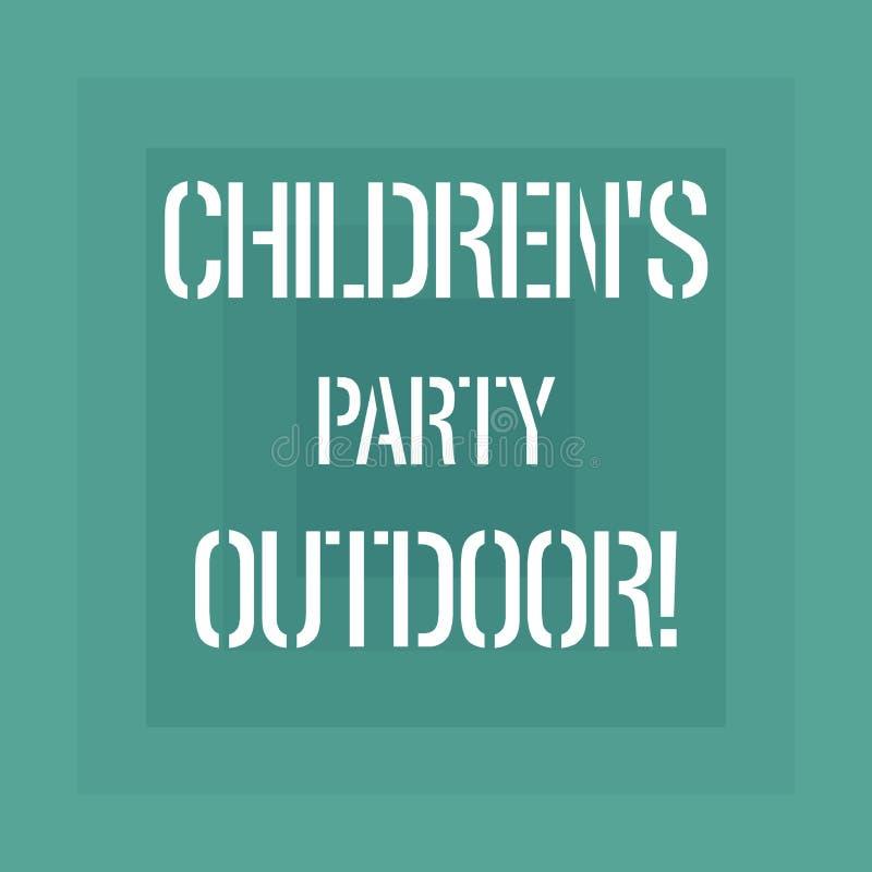 Знак текста показывая детям s партия на открытом воздухе Схематическое праздненство детей фото, который держат вне формы дома гео иллюстрация штока