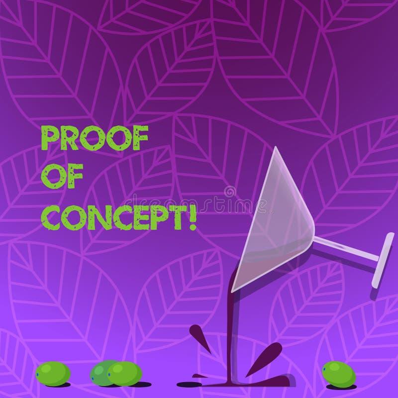 Знак текста показывая доказательство понятия Схематическое доказательство фото типично выводя от коктейля эксперимента или проект иллюстрация вектора