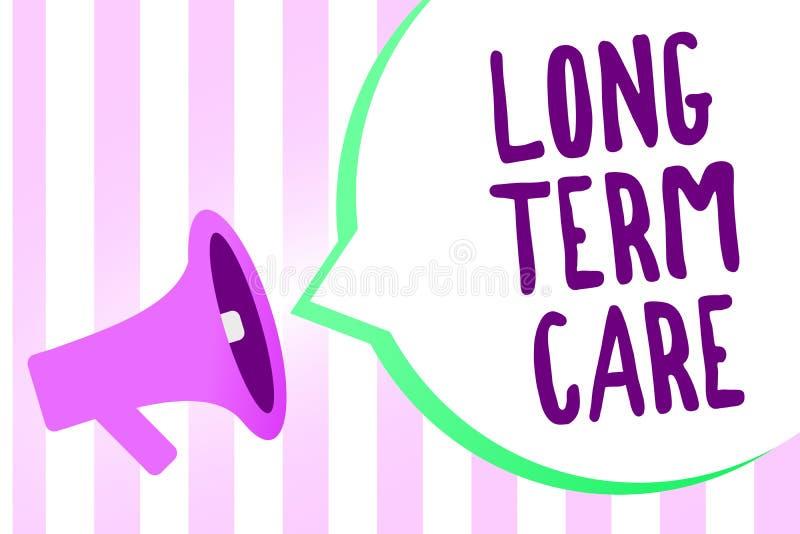 Знак текста показывая долгосрочную заботу Loudspeak мегафона снабжения жилищем выхода на пенсию схематического здравоохранения ух иллюстрация штока