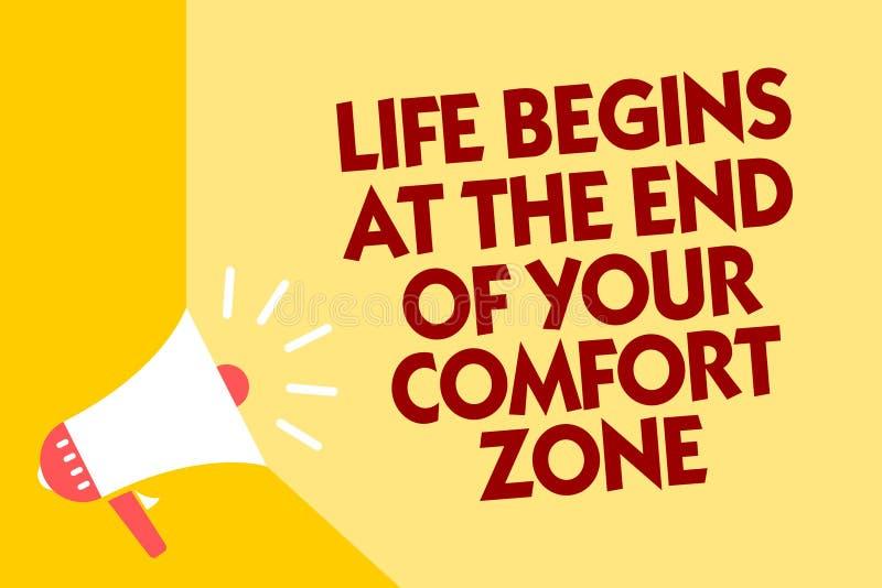 Знак текста показывая жизнь начинает в конце вашей зоны комфорта Схематическое фото делает изменения эволюционировать растет yel  иллюстрация штока