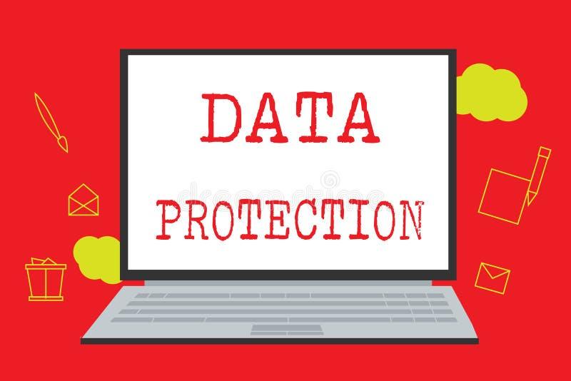 Знак текста показывая защиту данных Схематическое фото защищает IP-адресы и личные данные от вредного программного обеспечения иллюстрация штока