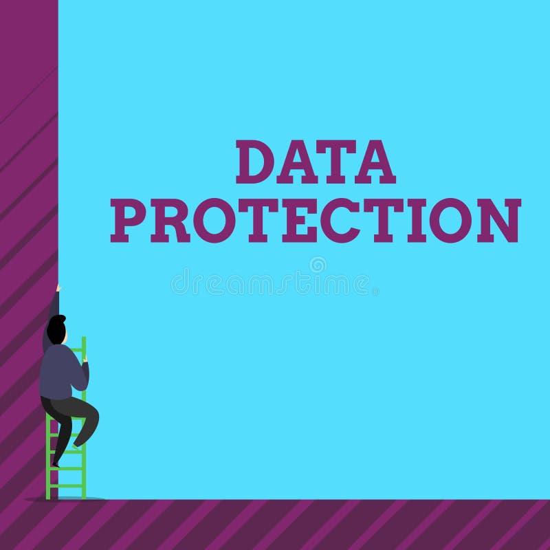 Знак текста показывая защиту данных Схематическое фото защищает IP-адресы и demonstratingal данные от вредного программного обесп иллюстрация вектора