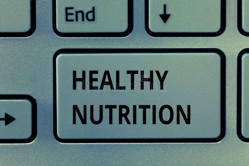 Знак текста показывая здоровое питание Схематическое фото есть здоровую и питательную диету сбалансированную едой стоковая фотография