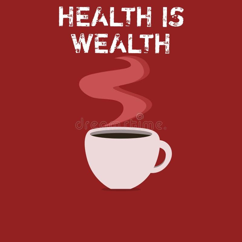 Знак текста показывая здоровье богатство Схематическое фото быть здорово более важно чем был состоятельно иллюстрация штока