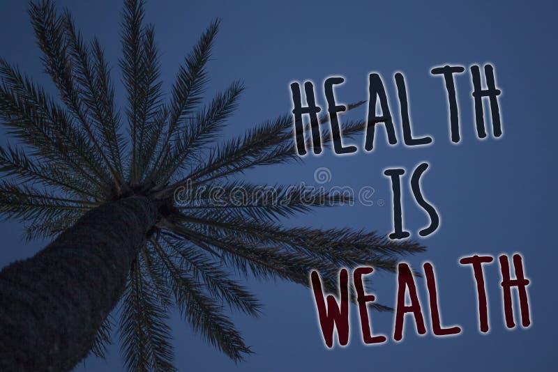 Знак текста показывая здоровье богатство Схематическое фото находясь в пребывании большой ценности хорошей формы здоровом ест здо иллюстрация штока