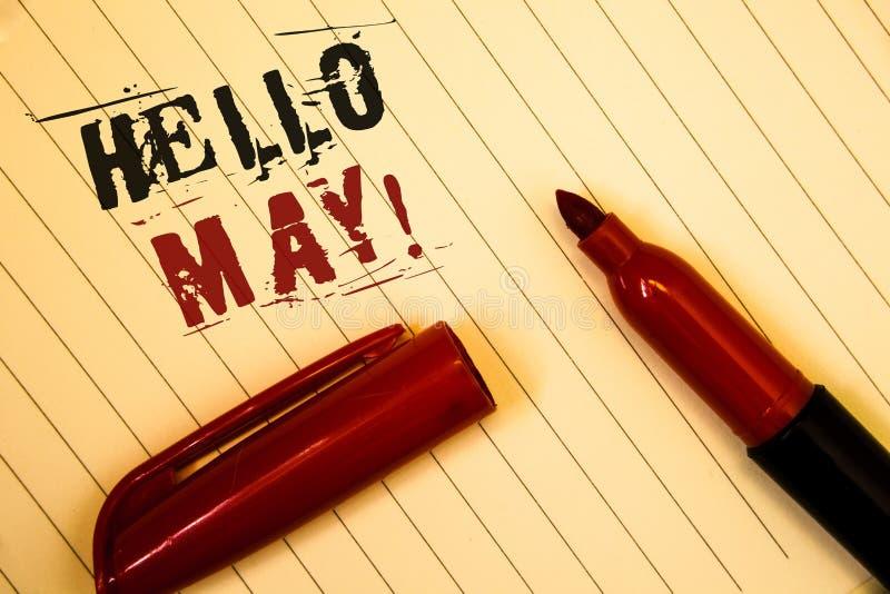 Знак текста показывая здравствуйте! может мотивационный звонок Схематические фото начиная новый месяц апрель над SpringIdeas o со стоковые изображения rf