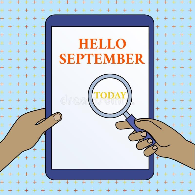 Знак текста показывая здравствуйте сентябрь Схематическое фото страстно желая хотеть теплую встречу к рукам месяца сентября иллюстрация вектора
