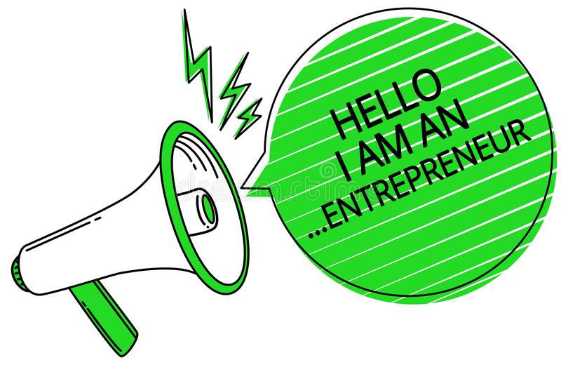 Знак текста показывая здравствуйте! я антрепренер Схематическая персона фото которая настроила громкоговоритель мегафона дела или иллюстрация штока