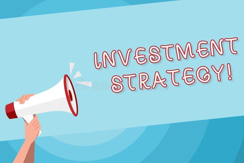 Знак текста показывая инвестиционную стратегию Схематическое фото систематический план для того чтобы размещать руку приемлемых д бесплатная иллюстрация