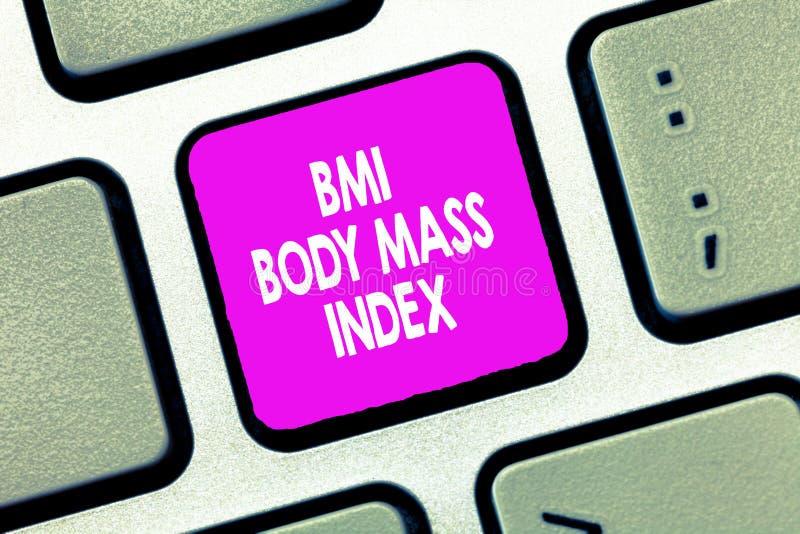 Знак текста показывая индекс массы тела Bmi Схематические жировые отложения фото основанные на весе и измерении веса стоковые изображения rf