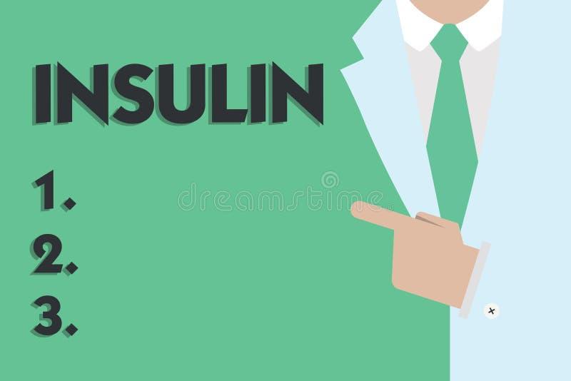 Знак текста показывая инсулин Инкреть схематического протеина фото поджелудочная регулирует глюкозу в крови иллюстрация штока