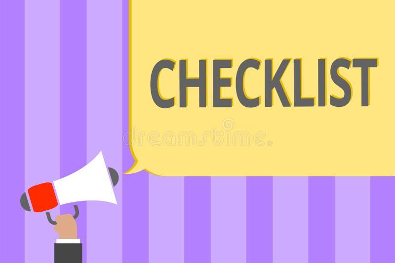 Знак текста показывая контрольному списоку схематический список фото вниз детальной работы как гид делать что-то громкоговоритель иллюстрация штока