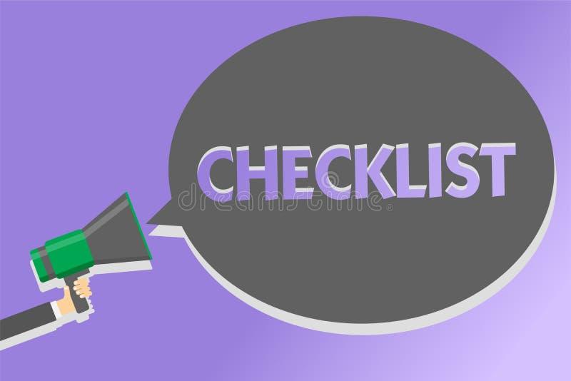 Знак текста показывая контрольному списоку схематический список фото вниз детальной работы как гид делать что-то громкоговоритель иллюстрация вектора