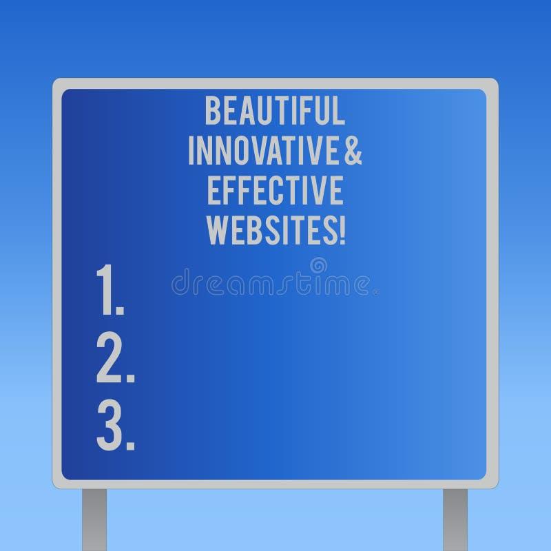 Знак текста показывая красивые новаторские и эффективные вебсайты Схематическим Веб-страницы фото сделанные колодцем привлекатель иллюстрация штока