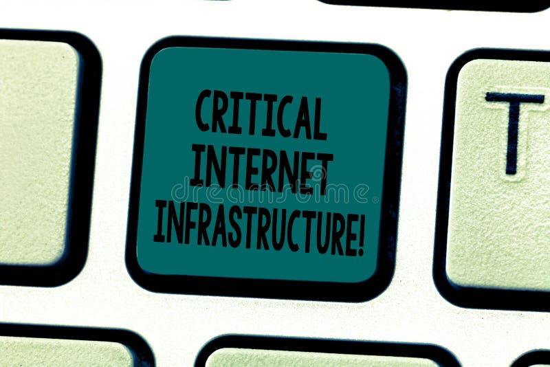 Знак текста показывая критическую инфраструктуру интернета Компоненты схематического фото необходимые клавиатуры деятельности инт стоковая фотография rf