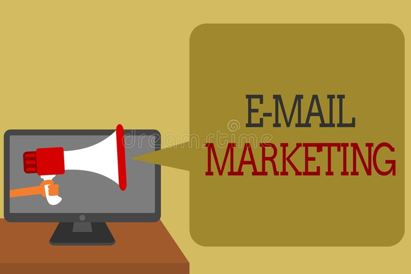 Знак текста показывая маркетинг электронной почты Схематическая электронная коммерция фото рекламируя networ средств массовой инф бесплатная иллюстрация