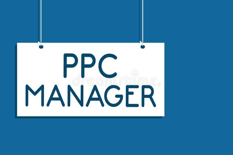 Знак текста показывая менеджера Ppc Схематическое фото которое рекламодателя оплачивают гонорару each time одному их объявлений щ иллюстрация вектора