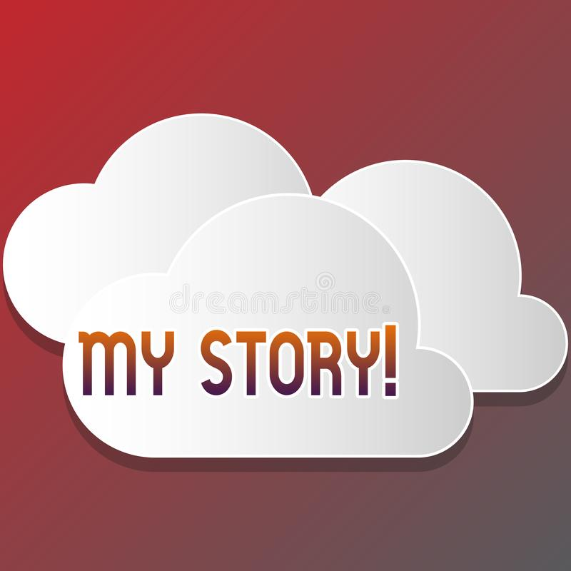 Знак текста показывая мой рассказ Схематическое фото ваши прошлые карьера или выборы действий событий в жизни вы делали пустую бе иллюстрация штока