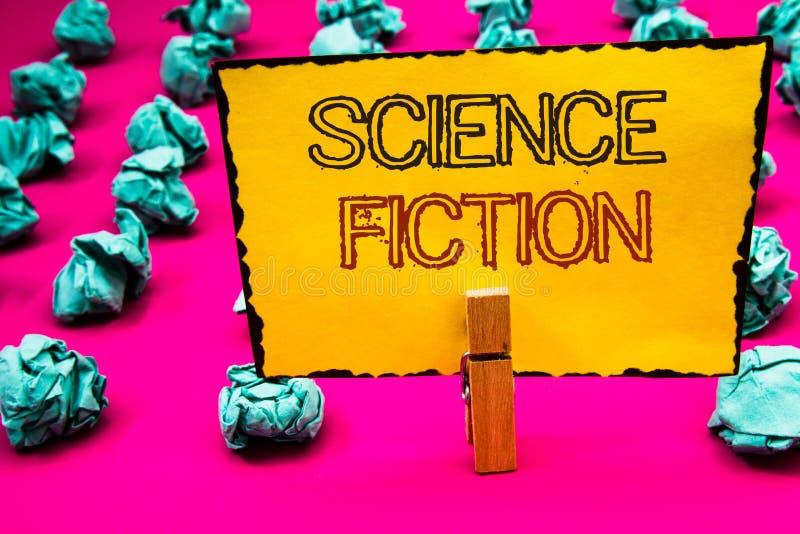 Знак текста показывая научную фантастику Владение зажимки для белья приключений схематического жанра развлечений фантазии фото фу стоковая фотография rf