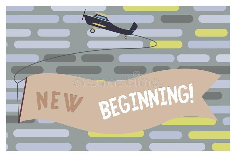 Знак текста показывая новое начало Карьера или работа схематического фото различная начиная снова запуск возобновляют иллюстрация вектора