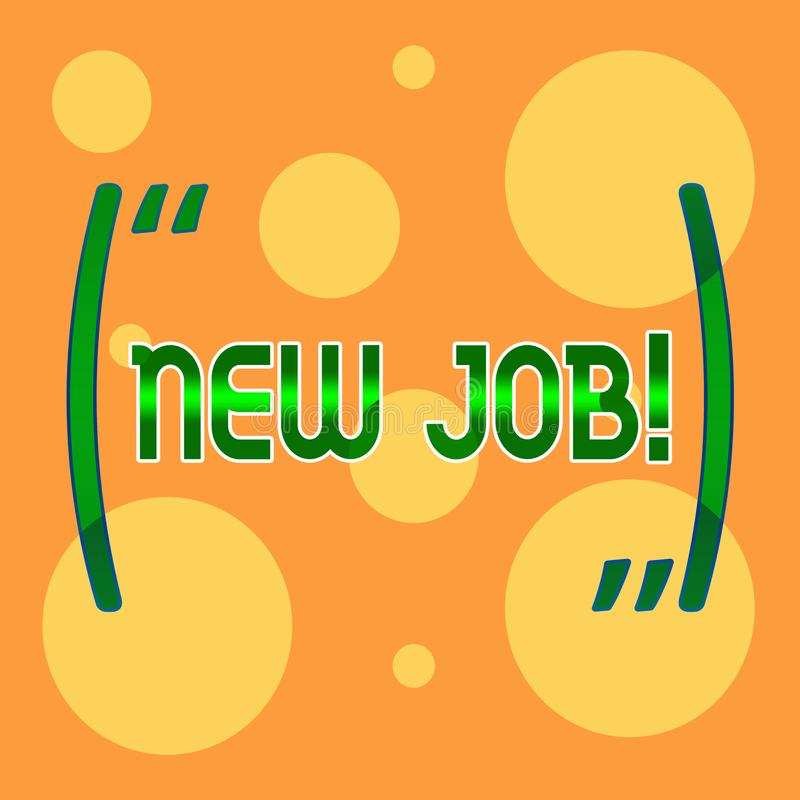 Знак текста показывая новую работу Схематическое фото недавно оплачивая положению регулярную занятость со специфическими задачами бесплатная иллюстрация