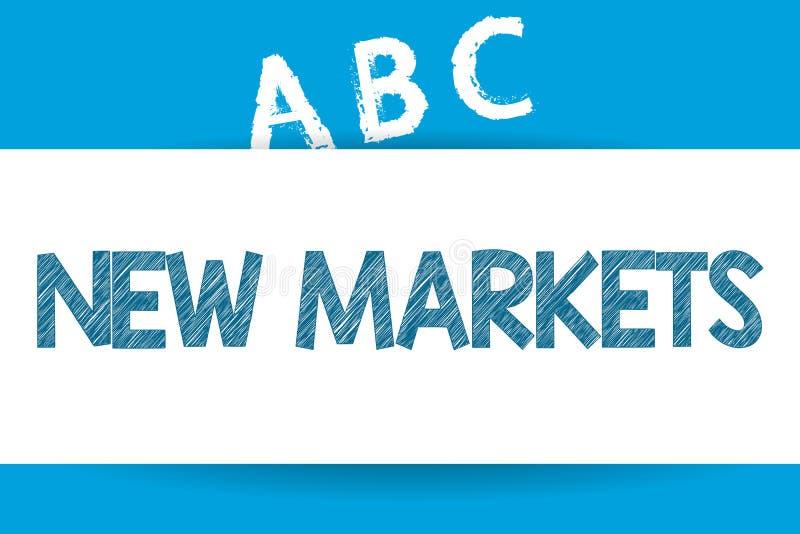 Знак текста показывая новые рынки Стратегии схематического фото различные коммерчески достигая другой показывать полей иллюстрация штока