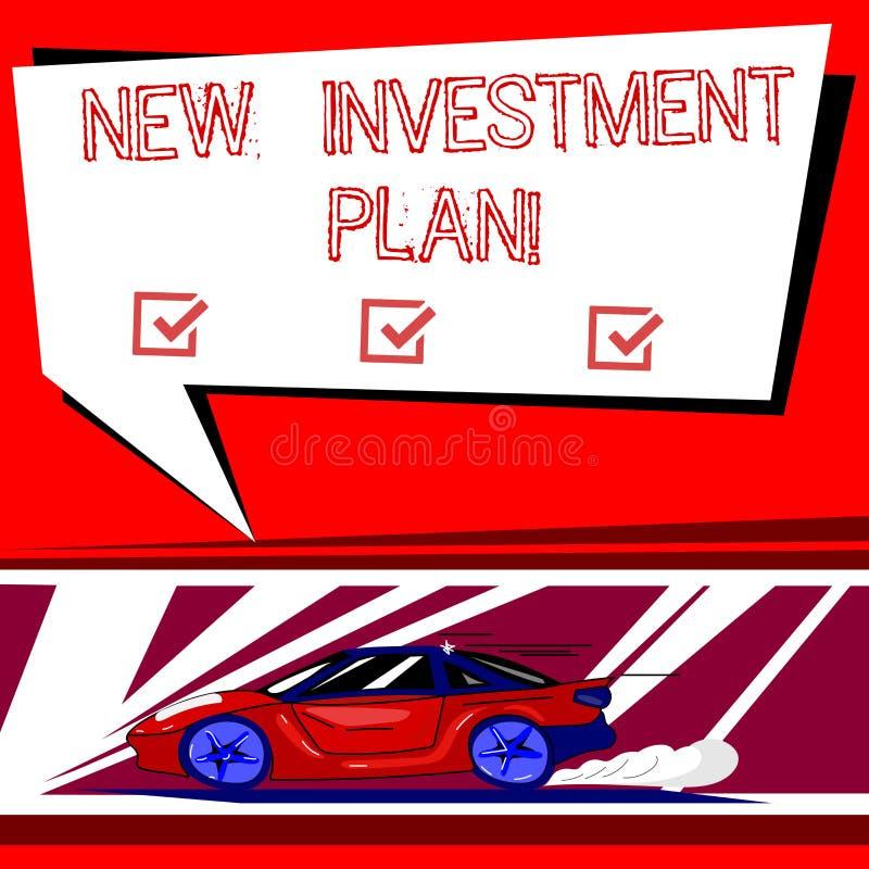 Знак текста показывая новый план капиталовложений Схематические инвесторы фото делают регулярные равные оплаты в автомобиль инвес иллюстрация штока