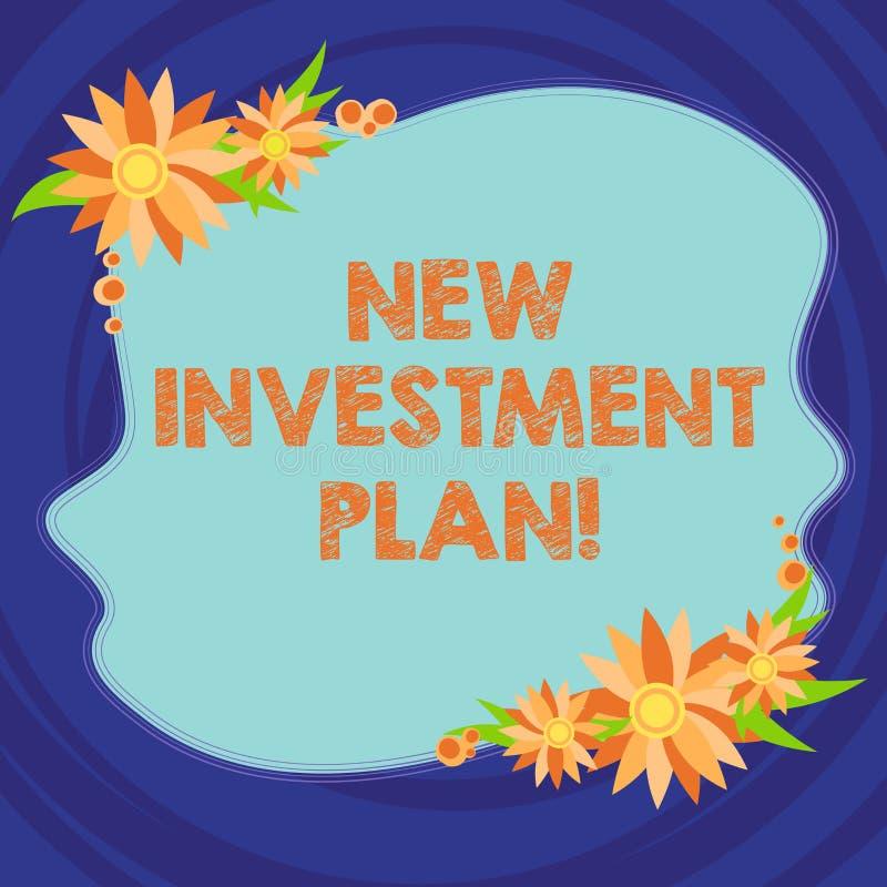 Знак текста показывая новый план капиталовложений Схематические инвесторы фото делают регулярные равные оплаты в пробел инвесторс бесплатная иллюстрация