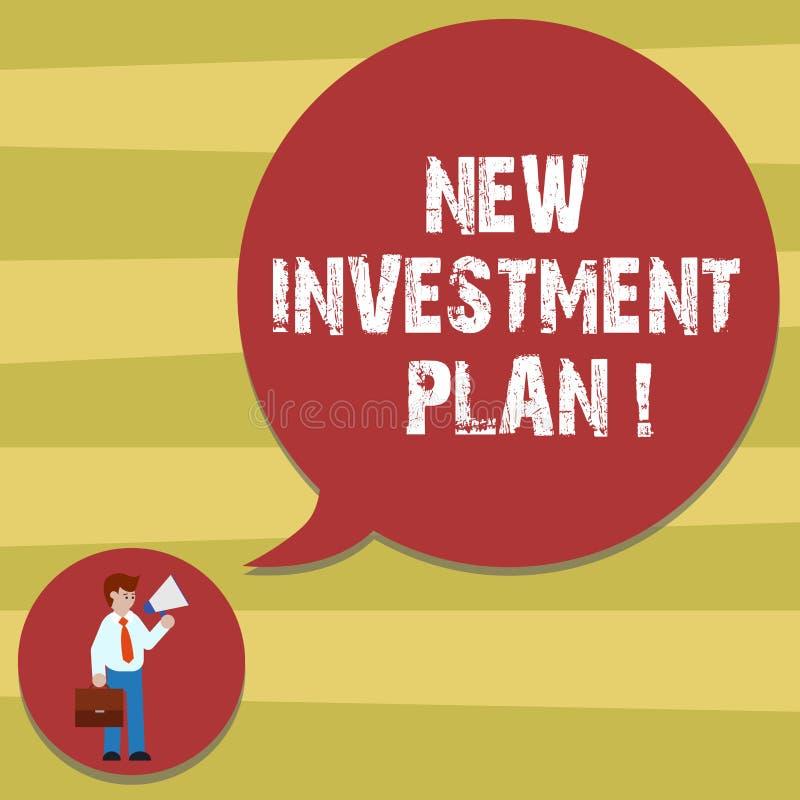 Знак текста показывая новый план капиталовложений Схематические инвесторы фото делают регулярные равные оплаты в человека инвесто иллюстрация штока