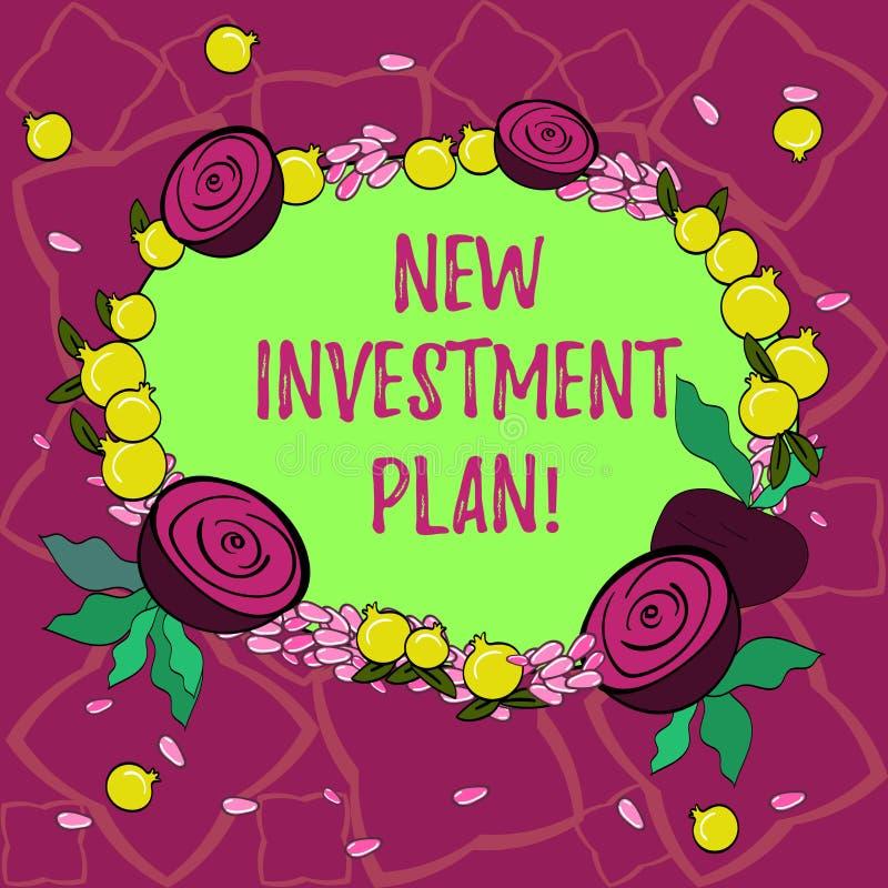 Знак текста показывая новый план капиталовложений Схематические инвесторы фото делают регулярные равные оплаты в инвесторскую ком иллюстрация вектора