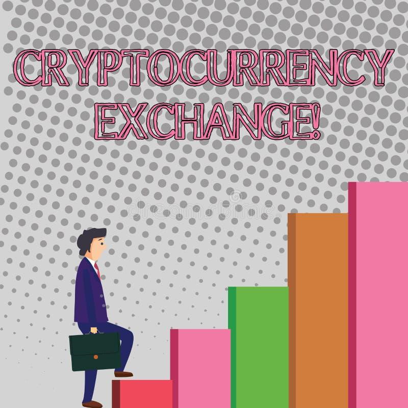 Знак текста показывая обмен Cryptocurrency Схематическое дело фото позволяет клиентам торговать cryptocurrencies иллюстрация штока