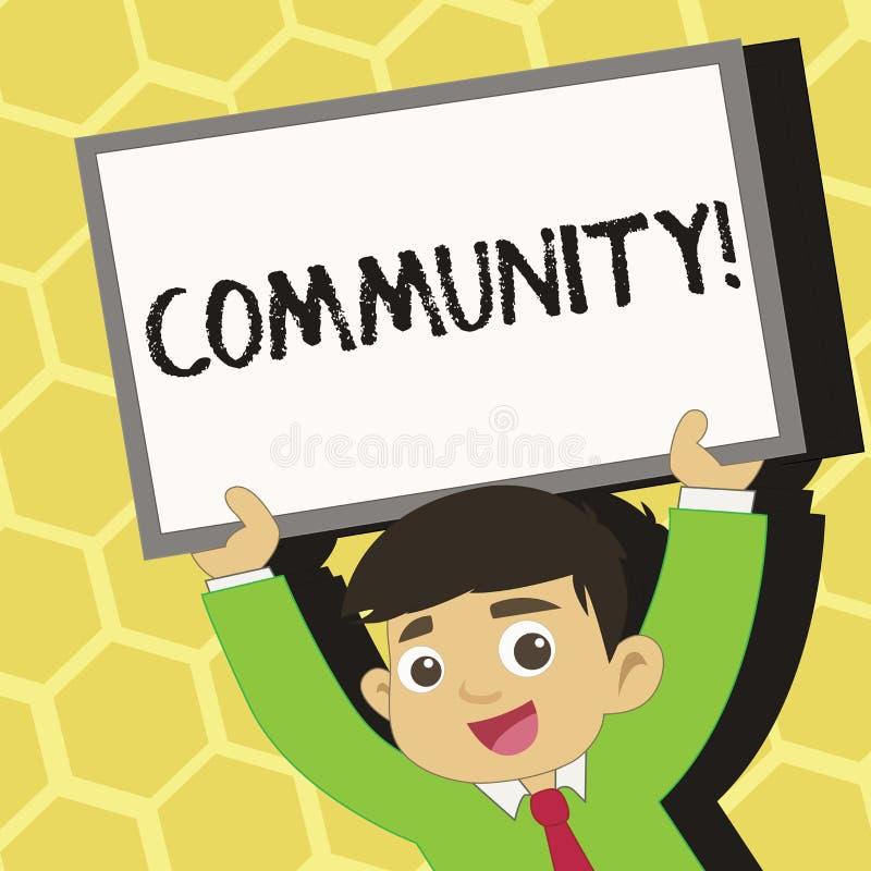 Знак текста показывая общину Схематические детеныши группы единства союзничества присоединения государства ассоциации района фото иллюстрация штока